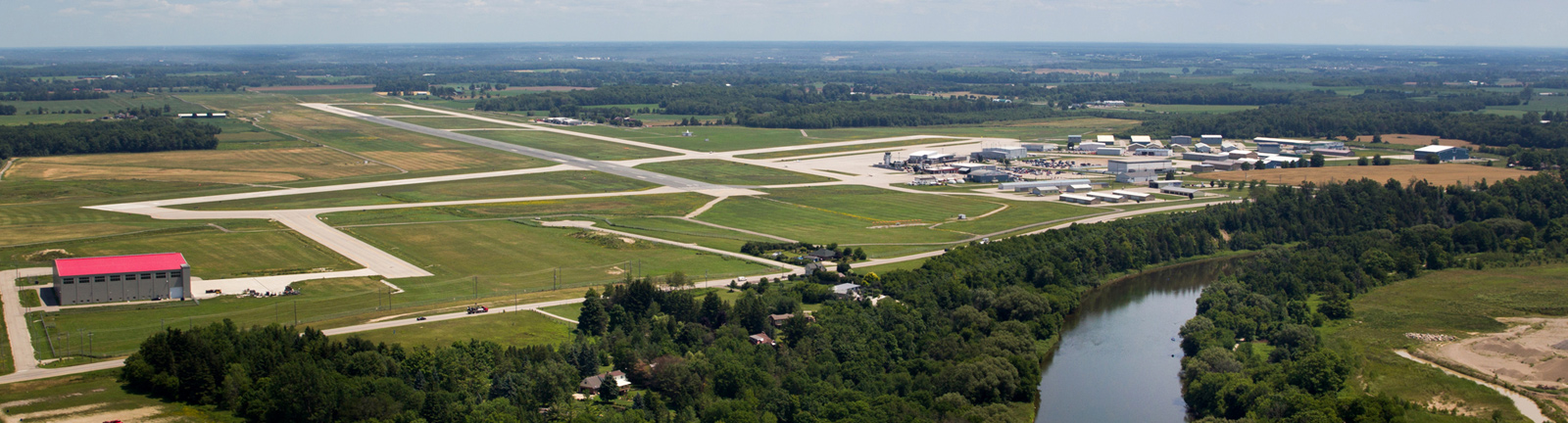 Aerial view of the region of waterloo airport