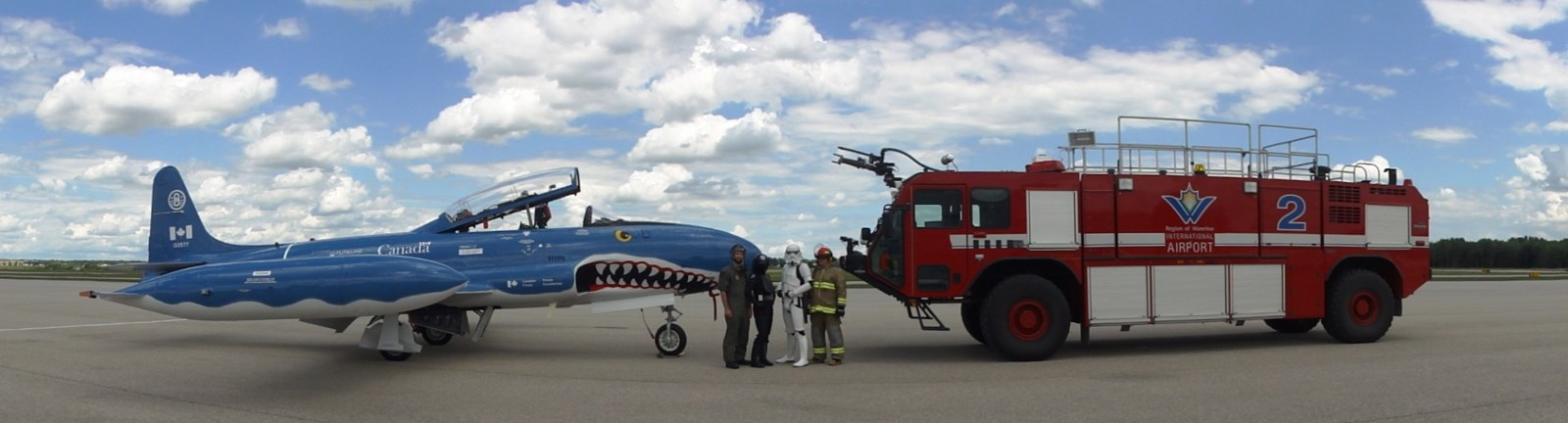Image of fire truck and Mako Shark with operators and 501st members